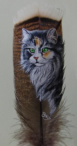 Chat persan peinture sur plumes