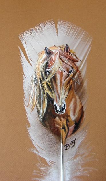 peinture sur plume cheval